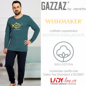 Pijama Barbati Gazzaz by Vienetta, 'WishMaker' Green