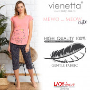 Pijama Dama din Bumbac 100% Vienetta Model 'Meow...Meow Cute' Pink