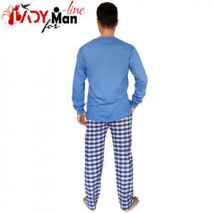 Pijamale Barbati, Contro Senso, Bumbac 100% Natural, 'High Performance' Blue Long