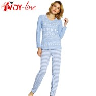 Pijamale Dama Bumbac 100%, 'Winter Tradition' Blue, Vienetta Secret