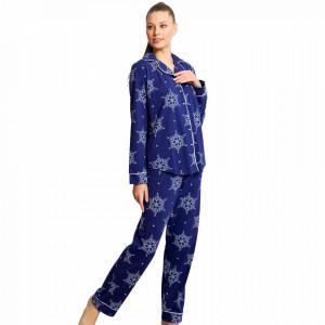 Pijamale Dama cu Nasturi din Bumbac Vienetta Model 'Snowflakes' Blue