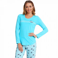 Pijamale Dama din Bumbac Vienetta Model 'Cute Love Enjoy' Blue