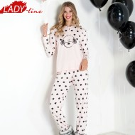 Pijamale Dama Maneca Lunga, Model La Stars & Puppies, Brand Italian Fashion Design, Material Bumbac 100% Interlock, Culoare Roz, Pijamale Dama Calitate 100%