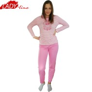 Pijamale Dama Maneca Lunga, Model Pacific Island, Producator Dehai-T,Culoare Roz, Pijamale Dama Maneca si Pantalon Lung