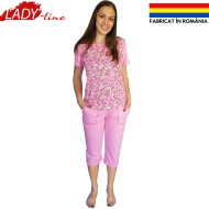 Pijamale Dama Maneca Scurta si Pantalon 3/4, Model 'Pink Fields', Producator Ana Art Textil, Bumbac 100%, Culoare Roz, Pijamale Fabricate In Romania