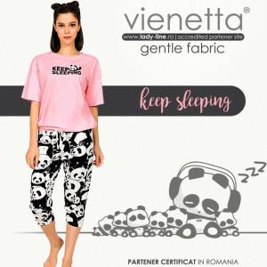 Pijamale Dama Manesca Scurta Pantalon 3/4 Vienetta Model 'Keep Sleeping'