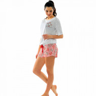 Pijamale Dama Manesca Scurta Pantalon Scurt Vienetta Model 'Pop Pop Corn'