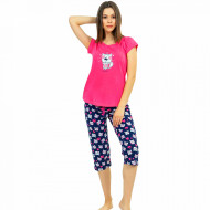 Pijamale Dama Vienetta din Bumbac cu Pantalon 3/4 Model 'Be Happy' Pink
