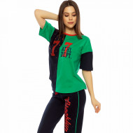 Pijamale Dama Vienetta din Bumbac cu Pantalon 3/4 Model 'Brooklyn'