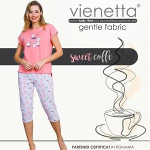 Pijamale Dama Vienetta din Bumbac cu Pantalon 3/4 Model 'Sweet Coffee' Pink