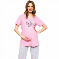 Pijamale Gravide si Alaptat Vienetta 'Hello Dear How Are You' Pink