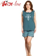 Pijamale Vienetta Secret, Bumbac 100%, 'Ethnic' Green