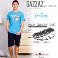 Pijamle Barbati Marimi Mari Gazzaz by Vienetta Model 'Coocking' Blue