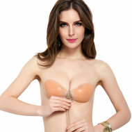 Sutien Silicon Transparent cu Snur si PUSH-UP, Forma Rotunda