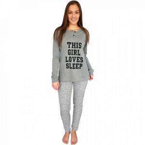 Woman's Pajams L'Originale, 100% Cotton,  'This Girl Loves Sleep' Gray