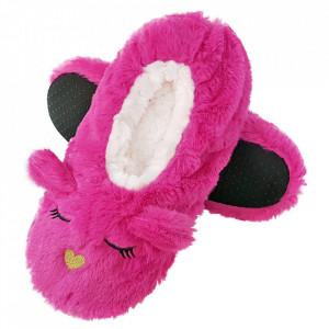 Papuci de Casa Tip Saboti, 'Sleeping Kitty' Fuchsia