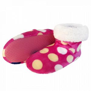 Papuci de Casa tip Cizmulite, 'Rainbow Dots' Pink