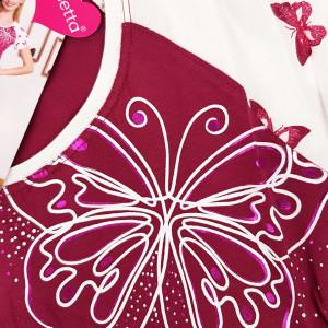 Camasa de Noapte cu Maneca Scurta Vienetta, Model 'Butterfly Paradise'