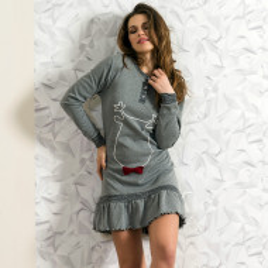 Camasa de Noapte Snelly L'Originale, 'Sweet & Happy' Gray