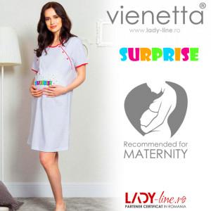 Camasa pentru Gravide si Alaptat din Bumbac Vienetta 'Surprise' Gray