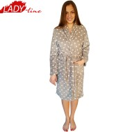 Halate Dama Extra Moale, Model Gray & Pink Dots, Producator LadyLine, Material Welsoft, Culoare Gri, Halate Pufoase de Calitate