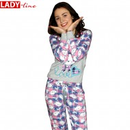 Love Bear, Pijamale Dama Primavara, Baki Collection, Bumbac 100%, Culoare Gri