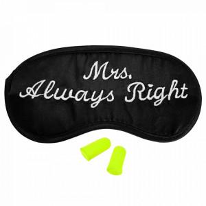 Ochelari de Dormit 'Mrs. Always Raight' + Set Dopuri, Culoare Negru