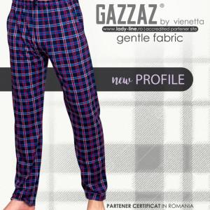 Pantaloni Pijama Barbati din Bumbac Gazzaz by Vienetta 'New Profile' Dark