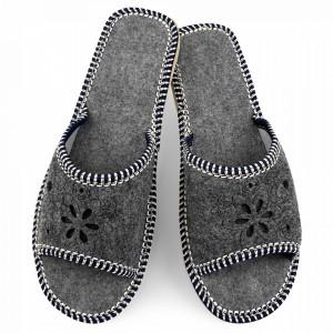 Papuci de Casa Dama din Postav Sezon Vara Culoare Gri Model 'Anacaona'