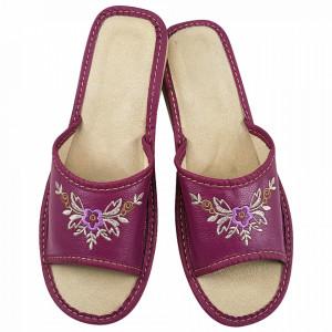 Papuci de Casa Dama, Material Piele, Culoare Mov Liliac, Model 'Lilac Blooms'