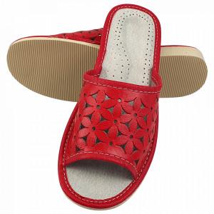 Papuci de Casa Dama, Material Piele, Culoare Rosu, Model 'Flawors Patrol'