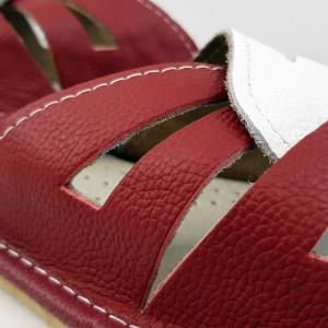 Papuci de Casa Vara din Piele Culoare Alb/Visiniu Model 'Glaucia'