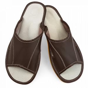 Papuci de Casa Vara din Piele Culoare Maro Model 'Summer Earth'