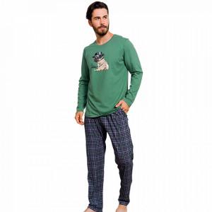 Pijama Barbati Bumbac 100% Gazzaz by Vienetta 'My little Hero' Green