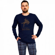 Pijama Barbati Gazzaz by Vienetta, 'Life is a Rodeo' Blue