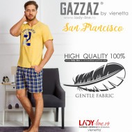 Pijama Barbati Gazzaz by Vienetta, 'San Francisco' Yellow