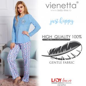 Pijama Dama Bumbac 100% Vienetta Model 'Just Happy'