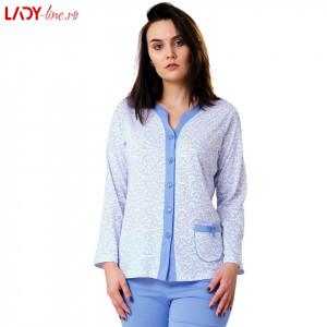 Pijama Dama Bumbac, M-Max, 'Classic Style' Blue