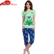 Pijama Dama cu Pantalon 3/4, Vienetta Secret, Model 'Kiss Me'