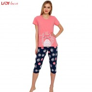 Pijama Dama Good Look, Bumbac 100%, 'Smile Please' Pink