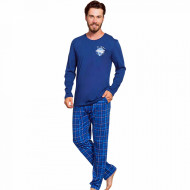Pijamale Barbati Bumbac 100% Gazzaz by Vienetta 'Flight Crew' Blue