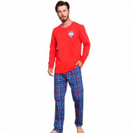 Pijamale Barbati Bumbac 100% Gazzaz by Vienetta 'Flight Crew' Red