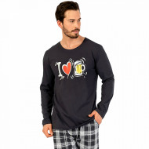 Pijamale Barbati din Bumbac 100% Gazzaz by Vienetta Model 'I Love Beer'