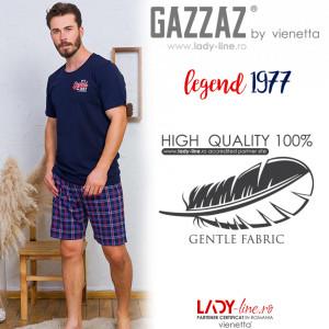 Pijamale Barbati din Bumbac 100% Gazzaz by Vienetta Model 'Legend 1977 Premium Product' Dark