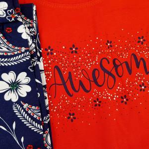Pijamale Confortabile din Bumbac Vienetta Model 'Awesome' Culoare Rosu