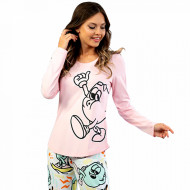 Pijamale Confortabile din Bumbac Vienetta Model 'Funny is My Second Name' Pink