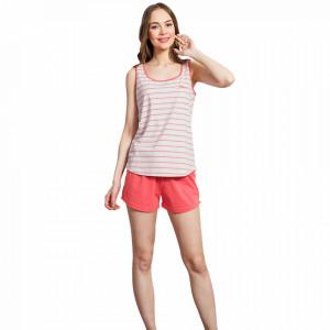 Pijamale Dama cu Bluza Tip Maieu Vienetta, Model 'Love' Melange