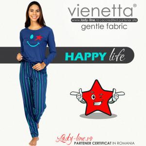 Pijamale Dama din Bumbac 100% Model 'Happy Life' Blue