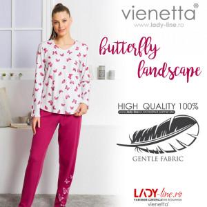 Pijamale Dama din Bumbac Interloc Vienetta Model 'Butterfly Landscape'