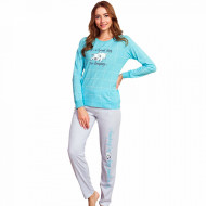 Pijamale Dama din Bumbac Vienetta Model 'It's a Good Day to Sleeping' Blue